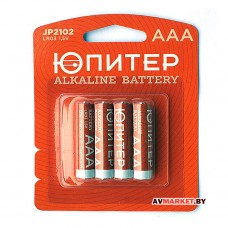 Батарейка AAA  LR03 1.5V alkaline 4шт Юпитер JP2102 Китай