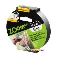Лента двухстороняя монтажная клейкая ZOOM пеновая 19ммх5м