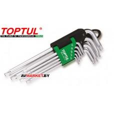Набор ключей Torx T10-Т50 9шт с отверстием длинных TOPTUL GAAL0919