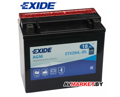 Аккумулятор EXIDE 18Ah 270A мото гель ETX20HL-BS