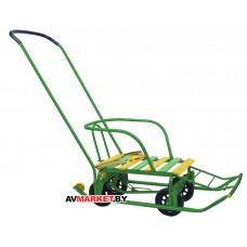 Санки детские Тимка 5 универсал (выдвижные колёса) зелёный T5У зелёный Россия