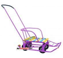 Санки детские Тимка 5 универсал (выдвижные колёса)  сиреневые Россия