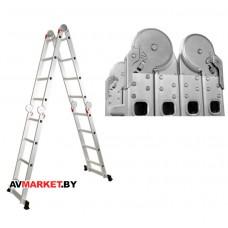 Лестница алюм. многофункц. 4х5 ступ. (стрем.-280см, лестн.-570см) 14,6кг STARTUL ST9732-05 Китай