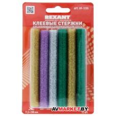 Стержни клеевые d=11.3мм L=100мм цветные с блестками упак. 12 шт блистер REXANT 09-1235