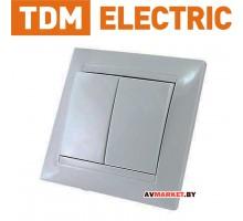 """Выключатель 2-х кл. 10А белый """"Лама"""" TDM SQ1815-0002"""