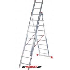 Лестница алюм. 3-х секц. 201/474/214см 3*8 ступ. 9,9кг PRO STARTUL ST9944-08