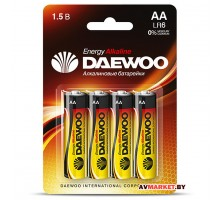 Батарейка AA  LR6 1.5V alkaline BL-4 DAEWOO ENERGY 4690601030368