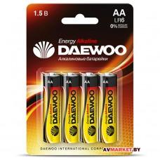 Батарейка AA  LR6 1.5V alkaline BL-4шт DAEWOO ENERGY 4690601030368 1030368 Китай