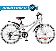 Велосипед NOVATRACK 24 ALICE сталь рама 10 белый 6-скор TY21/RS35/SG-6Si V-brake# 117107 24SH6 Росси