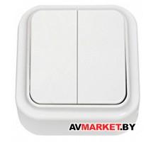 Выключатель 2 клав. (открытый, 6А) белый, Пралеска, Bylectrica (А56-134) Беларусь