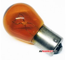 Лампа S25 двухконтактная 12V 21/5W стоп габарит желтая Orange box Россия 9495