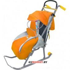 Санки-коляска Ника Детям 2 (Спинка лежа прозрачный
