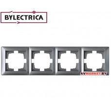 Рамка 4-местная серебро Стиль Bylelectrica ЮЛИГ.735212.217сер