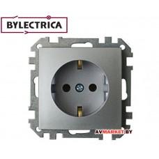 Розетка 1-ая скрытая с/з серебро Стиль Bylelectrica PC16-525сер