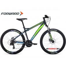 "Велосипед Forward Flash 26 2.0 disc (26"" 21ск рост 17"") серый/светло-зеленый матовый RBKW0MN6Q019"