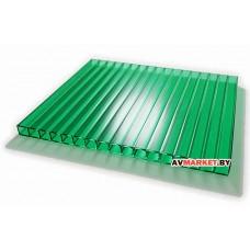Сотовый поликарбонат 6мм (зеленый 11,34) IZOPOL 2100*6000мм РФ