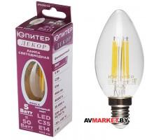 Лампа светодиодная С35 Свеча 5 Вт 220-240В Е14 4000K Юпитер декор JP6002-02