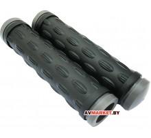 Грипсы (ручка на руль) HY-500-3 L-128 (чёрно-серый) Польша 4027