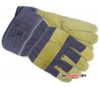 Перчатки кожанные комбинированные утеплённые арт С0601 Россия