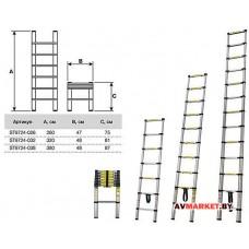 Лестница телескопическая односек. алюм 380см 10,2 кг STARTUL ST9724-038