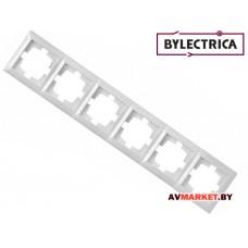 Рамка 6-местная белая Стиль Bylelectrica ЮЛИГ.735212.218 Беларусь