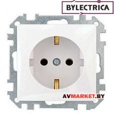 Розетка 1-ая скрытая с/з белая Стиль Bylelectrica PC16-525 Беларусь