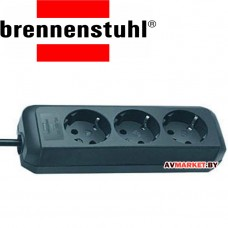 Удлинитель 1,5м (3 роз 3,3кВт с/з GDC) черный Brennenstuhl Eco-Line 1158620015