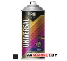 Краска-эмаль аэроз. универсальная черный глянец INRAL 400 мл (9017)