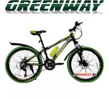 """Велосипед GREENWAY 4919M 24"""" горный для взрослых Китай черно-зеленый"""