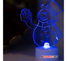"""Фигура светодиодная """"Снеговик с подарком 2D"""" на подставке RGB арт 501-054 Китай"""