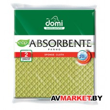 Салфетки губчатые 2 шт DOMI (Состав: целлюлоза-зеленя. Размер салфетки: 180х200х4мм) (1402DI)