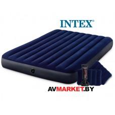 Надувной матрас Queen Classic Downy 152х203х25 см + 2 подушки и насос ручной INTEX 64765 Китай