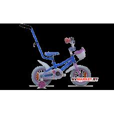 Велосипед двухколесный для детей Aist WIKI 12 голубой белые покрышки +корзи