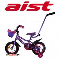 Велосипед двухколесный для детей Aist WIKI 12 чёр,покр ФИОЛЕТОВ+корз
