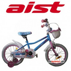Велосипед двухколесный для детей Aist WIKI 16 бел,покр,ГОЛУБОЙ+корзи