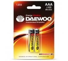 Батарейка AAA  LR03 1.5V alkaline BL-2шт DAEWOO ENERGY 4690601030375