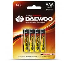 Батарейка AAA  LR03 1.5V alkaline BL-4шт DAEWOO ENERGY 4690601030399
