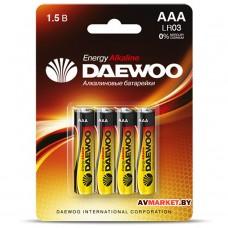 Батарейка AAA  LR03 1.5V alkaline BL-4шт DAEWOO ENERGY 1030399 Китай