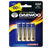 Батарейка AAA  LR03 1.5V alkaline BL-4шт DAEWOO HIGH ENERGY 4895205006843