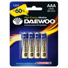 Батарейка AAA  LR03 1.5V alkaline BL-4шт DAEWOO HIGH ENERGY 4895205006843 Китай