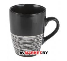 Кружка керамическая 325 мил, черная с полоской МИКС PERFECTO LINEA арт 30-096515 Китай