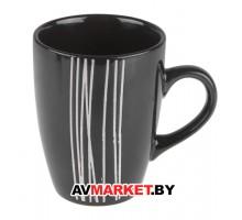 Кружка керамическая 325 мил, черная с полоской МИКС PERFECTO LINEA арт 30-096516 Китай