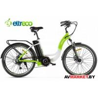 "Велогибрид Eltreco White 26"" 250W бело-зеленый Китай 2422"