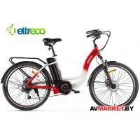 """Велогибрид Eltreco White 26"""" 250W бело-красный Китай 2423"""
