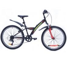 Велосипед  двухколесный FAVORIT модель METEOR 24V, MTR24V.12RD 2019 Китай (черно-красный)