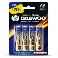 Батарейка AA  LR6 1.5V alkaline BL-4шт DAEWOO HIGH ENERGY 4895205006812 Россия
